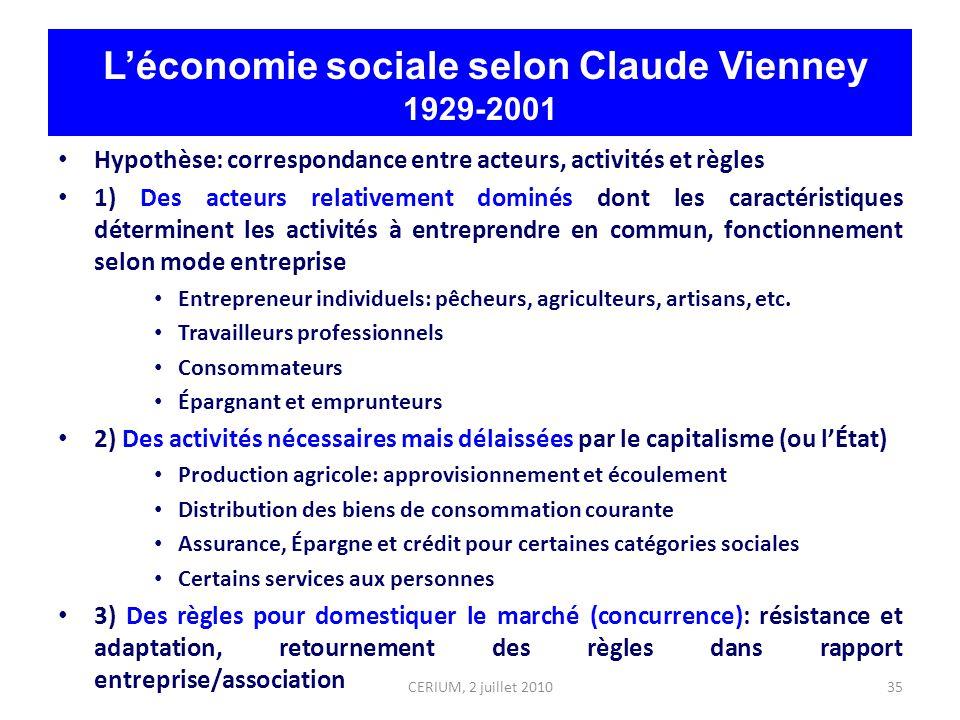 35 Léconomie sociale selon Claude Vienney 1929-2001 Hypothèse: correspondance entre acteurs, activités et règles 1) Des acteurs relativement dominés d