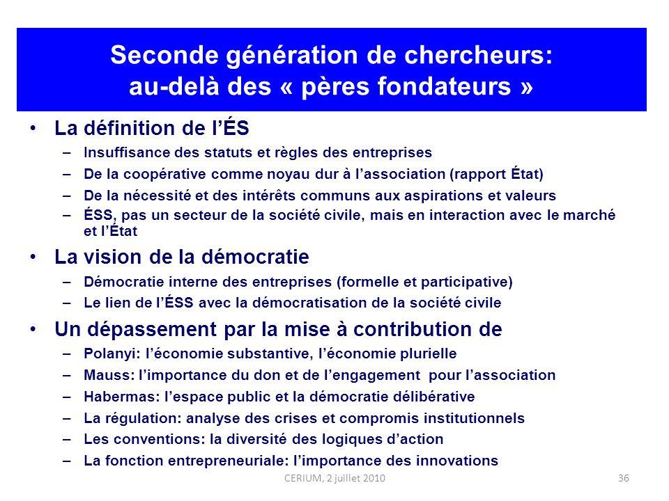 36 Seconde génération de chercheurs: au-delà des « pères fondateurs » La définition de lÉS –Insuffisance des statuts et règles des entreprises –De la