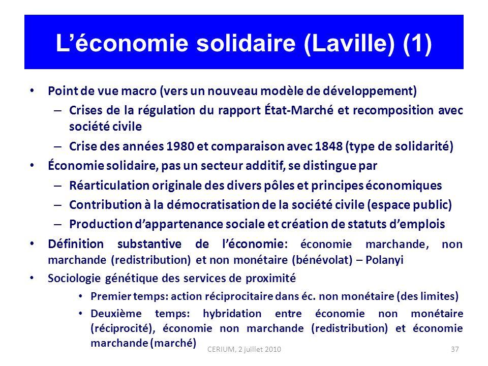 37 Léconomie solidaire (Laville) (1) Point de vue macro (vers un nouveau modèle de développement) – Crises de la régulation du rapport État-Marché et