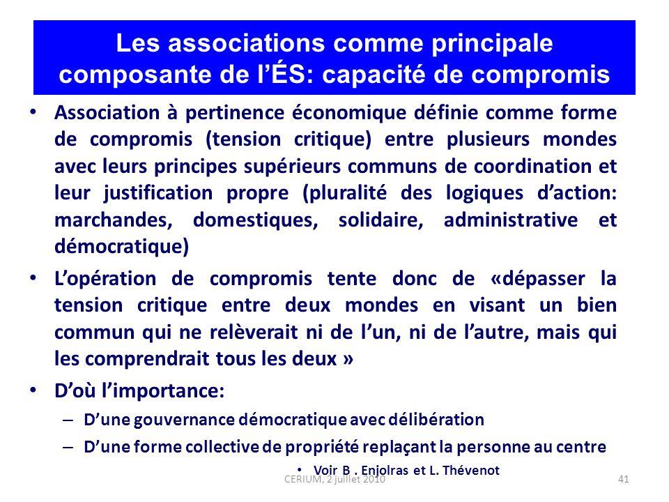41 Les associations comme principale composante de lÉS: capacité de compromis Association à pertinence économique définie comme forme de compromis (te