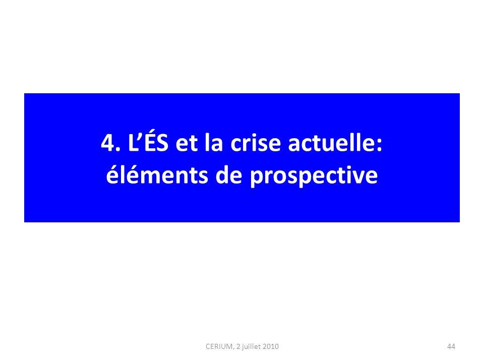 4. LÉS et la crise actuelle: éléments de prospective CERIUM, 2 juillet 201044