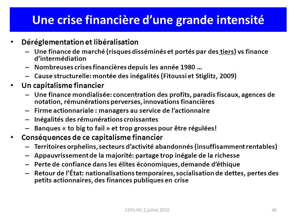CERIUM, 2 juillet 2010 Une crise financière dune grande intensité Déréglementation et libéralisation – Une finance de marché (risques disséminés et po