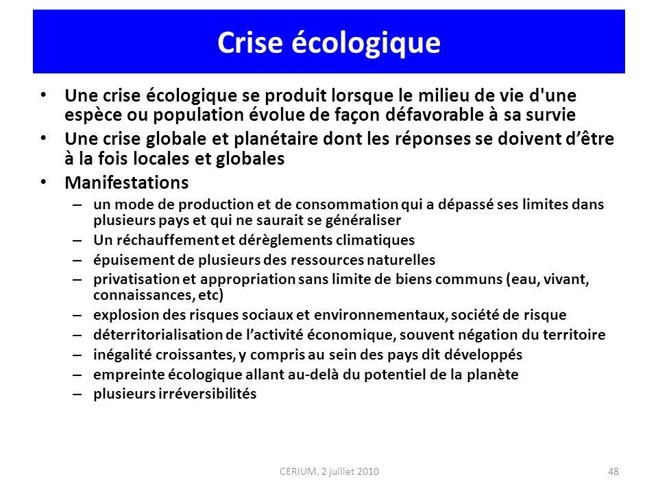 Crise écologique Une crise écologique se produit lorsque le milieu de vie d'une espèce ou population évolue de façon défavorable à sa survie Une crise