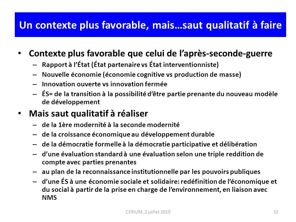 CERIUM, 2 juillet 2010 Un contexte plus favorable, mais…saut qualitatif à faire Contexte plus favorable que celui de laprès-seconde-guerre – Rapport à