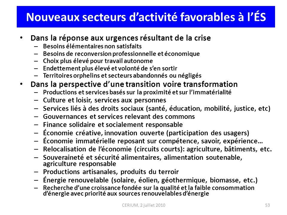 CERIUM, 2 juillet 2010 Nouveaux secteurs dactivité favorables à lÉS Dans la réponse aux urgences résultant de la crise – Besoins élémentaires non sati