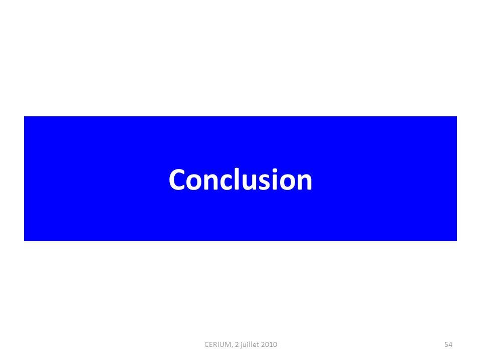 Conclusion CERIUM, 2 juillet 201054