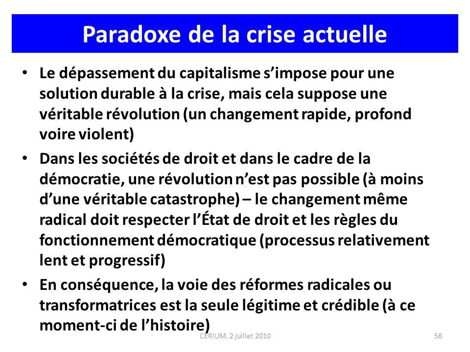 Paradoxe de la crise actuelle Le dépassement du capitalisme simpose pour une solution durable à la crise, mais cela suppose une véritable révolution (