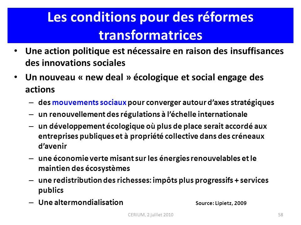 Les conditions pour des réformes transformatrices Une action politique est nécessaire en raison des insuffisances des innovations sociales Un nouveau