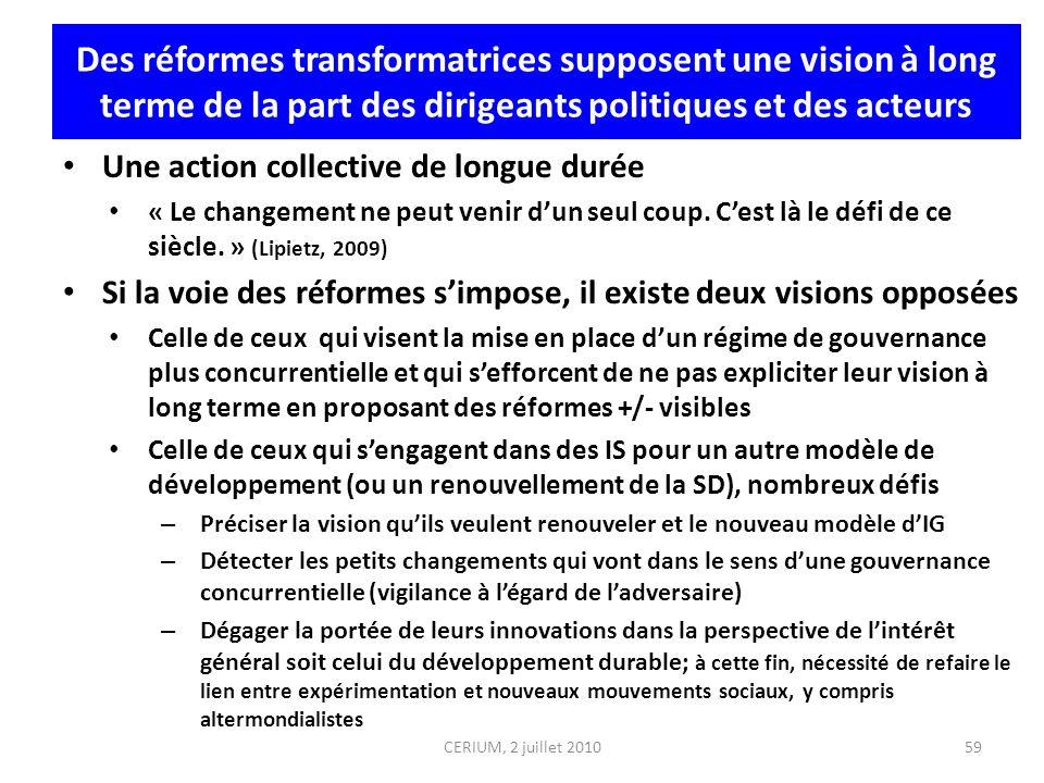 Des réformes transformatrices supposent une vision à long terme de la part des dirigeants politiques et des acteurs Une action collective de longue du