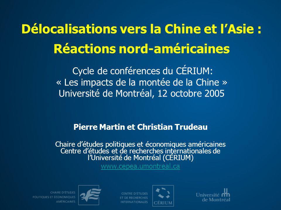 Délocalisations vers la Chine et lAsie : Réactions nord-américaines Cycle de conférences du CÉRIUM: « Les impacts de la montée de la Chine » Universit