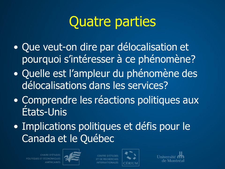 Quatre parties Que veut-on dire par délocalisation et pourquoi sintéresser à ce phénomène? Quelle est lampleur du phénomène des délocalisations dans l