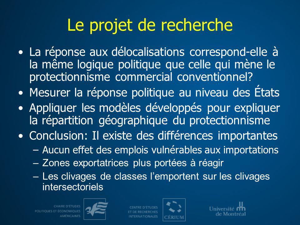 Le projet de recherche La réponse aux délocalisations correspond-elle à la même logique politique que celle qui mène le protectionnisme commercial con