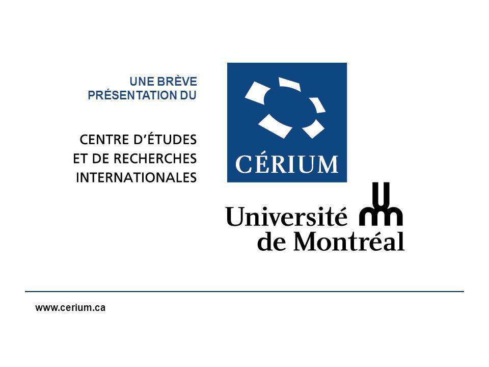 www.cerium.ca En construction pour 2006 Une école de formation destinée à la société civile Sur limpact économique, social, écologique, géopolitique… de la montée de la Chine