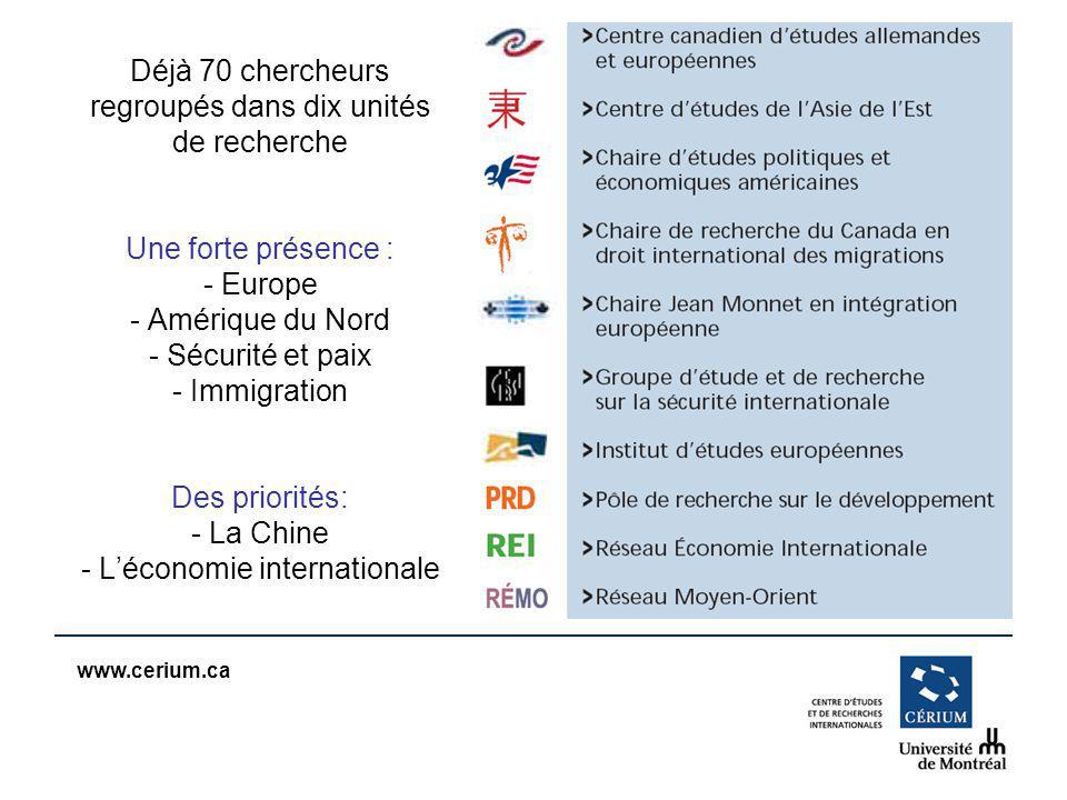 www.cerium.ca Déjà 70 chercheurs regroupés dans dix unités de recherche Une forte présence : - Europe - Amérique du Nord - Sécurité et paix - Immigration Des priorités: - La Chine - Léconomie internationale