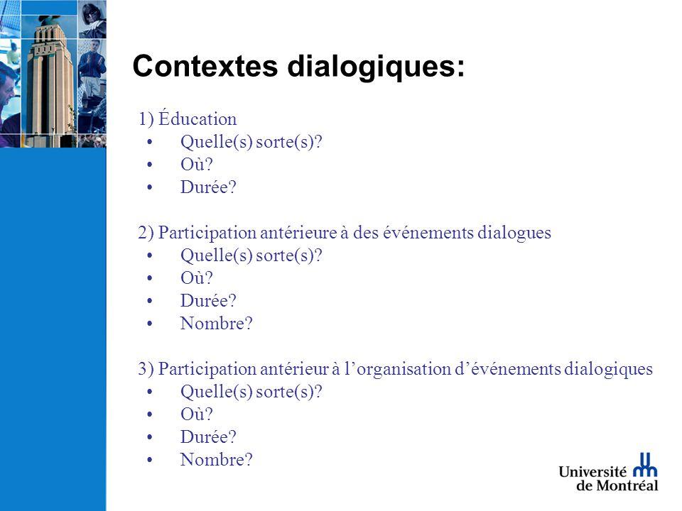 Contextes dialogiques: 1) Éducation Quelle(s) sorte(s)? Où? Durée? 2) Participation antérieure à des événements dialogues Quelle(s) sorte(s)? Où? Duré