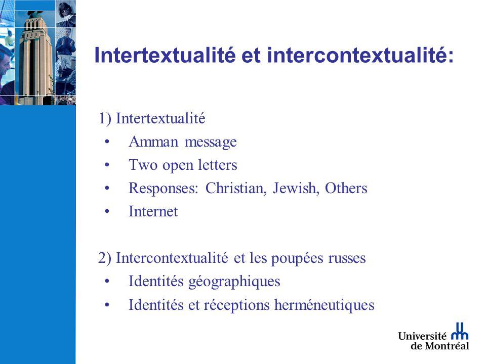 Intertextualité et intercontextualité: 1) Intertextualité Amman message Two open letters Responses: Christian, Jewish, Others Internet 2) Intercontext