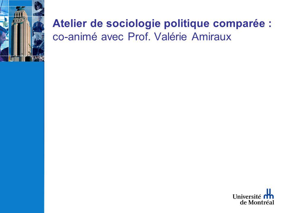 Atelier de sociologie politique comparée : co-animé avec Prof. Valérie Amiraux