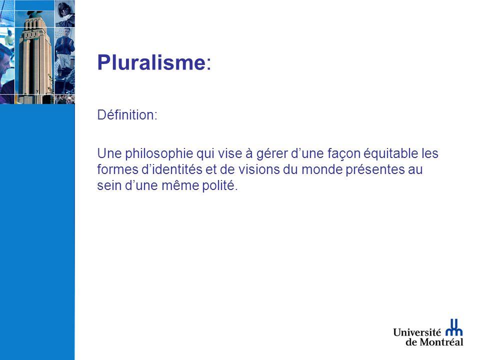 Pluralisme: Définition: Une philosophie qui vise à gérer dune façon équitable les formes didentités et de visions du monde présentes au sein dune même