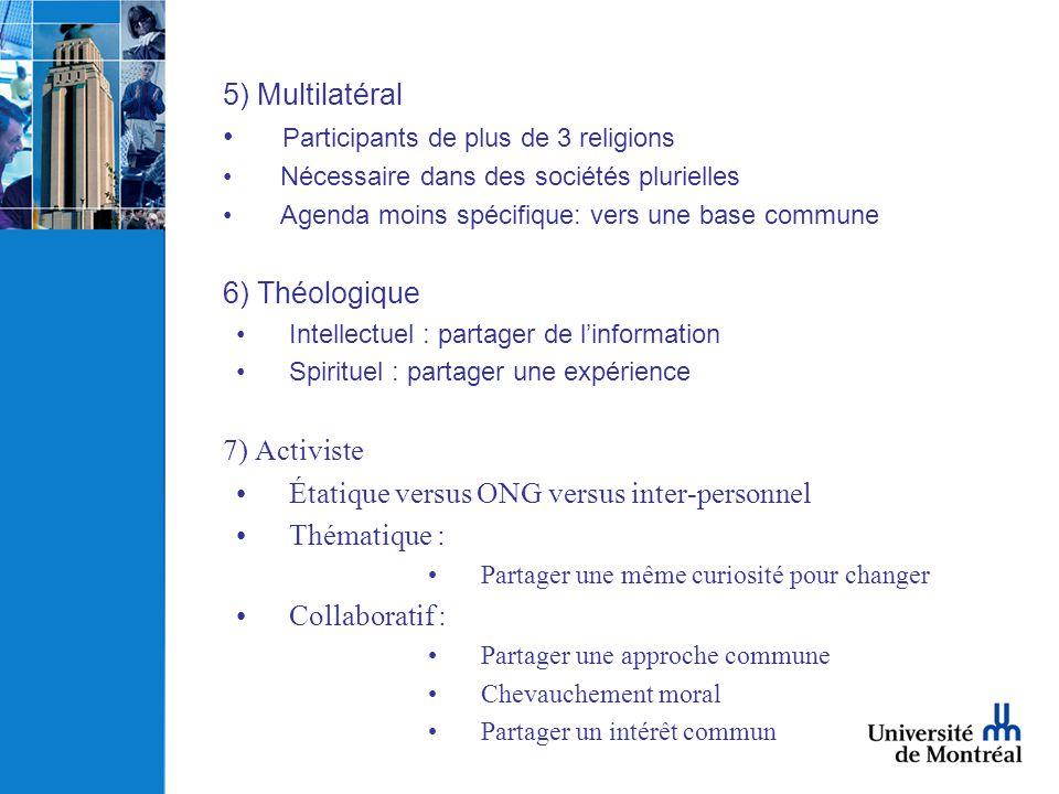 5) Multilatéral Participants de plus de 3 religions Nécessaire dans des sociétés plurielles Agenda moins spécifique: vers une base commune 6) Théologi