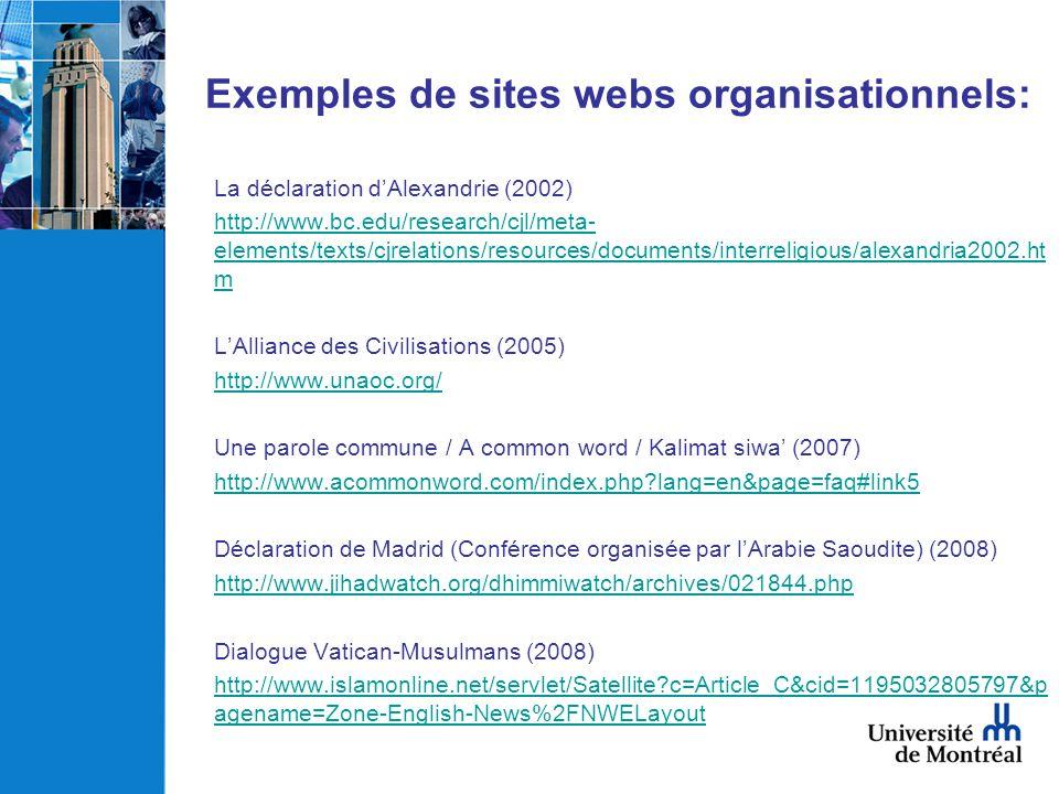 Exemples de sites webs organisationnels: La déclaration dAlexandrie (2002) http://www.bc.edu/research/cjl/meta- elements/texts/cjrelations/resources/d