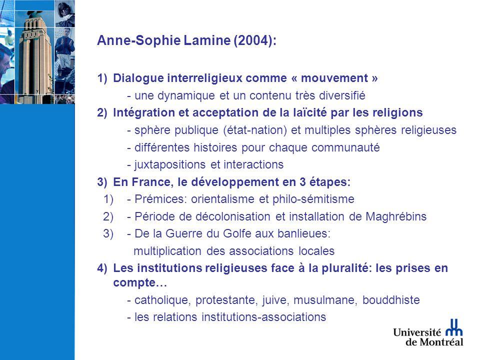 Anne-Sophie Lamine (2004): 1)Dialogue interreligieux comme « mouvement » - une dynamique et un contenu très diversifié 2)Intégration et acceptation de