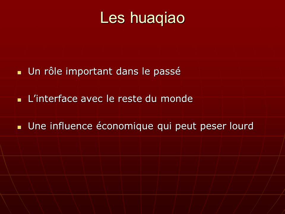 Les huaqiao Un rôle important dans le passé Un rôle important dans le passé Linterface avec le reste du monde Linterface avec le reste du monde Une influence économique qui peut peser lourd Une influence économique qui peut peser lourd
