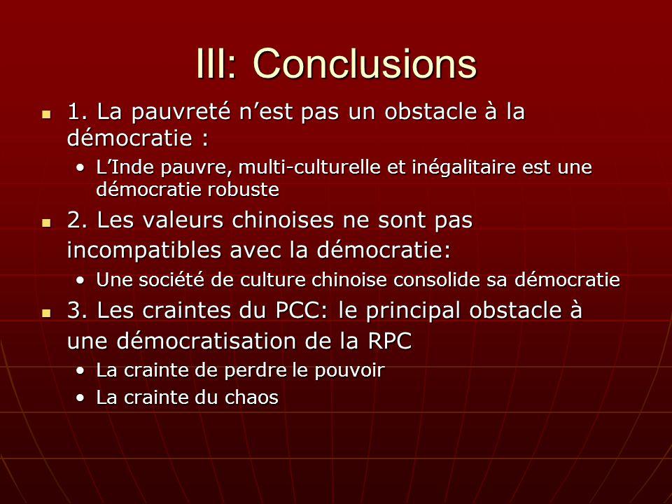 III: Conclusions 1. La pauvreté nest pas un obstacle à la démocratie : 1.