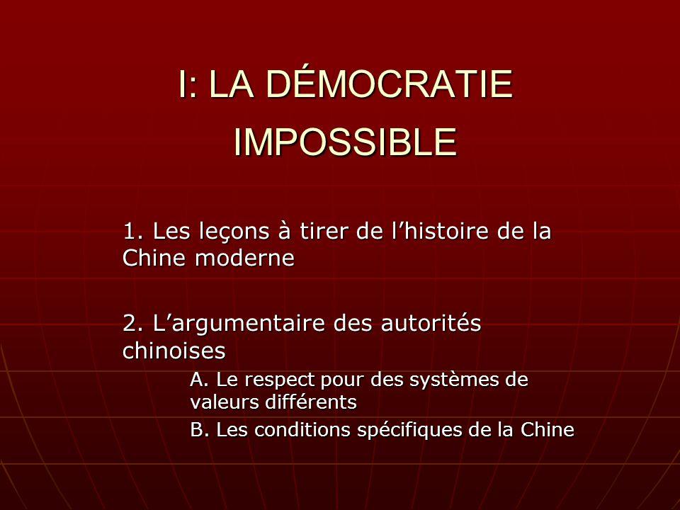 I: LA DÉMOCRATIE IMPOSSIBLE 1. Les leçons à tirer de lhistoire de la Chine moderne 2.