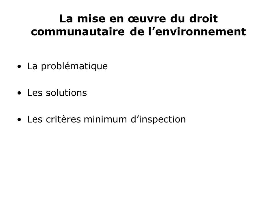 La mise en œuvre du droit communautaire de lenvironnement La problématique Les solutions Les critères minimum dinspection