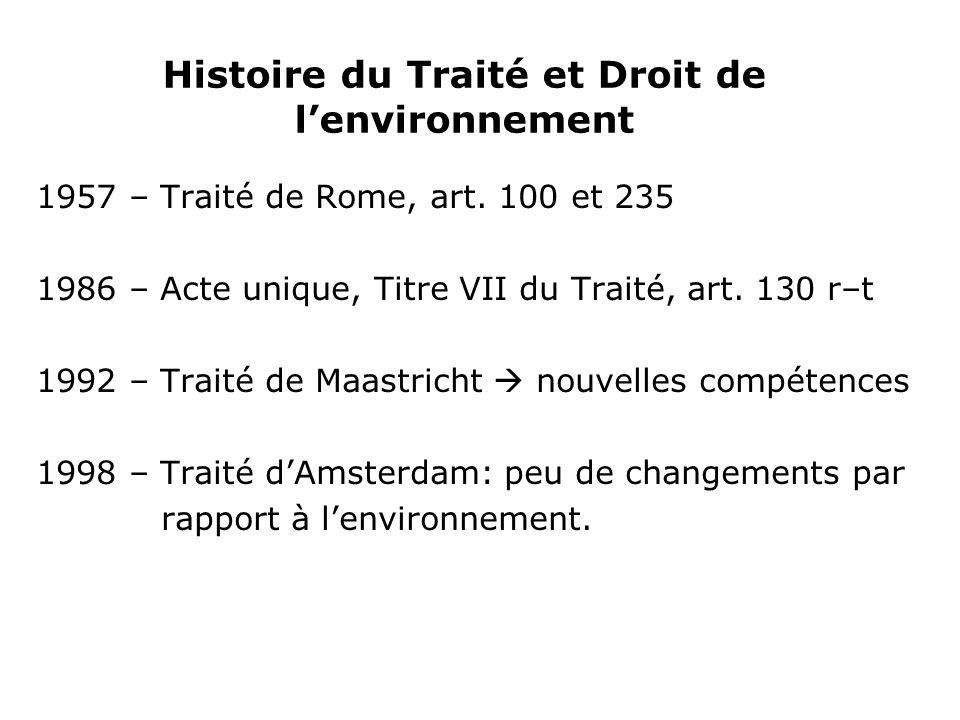 Histoire du Traité et Droit de lenvironnement 1957 – Traité de Rome, art.