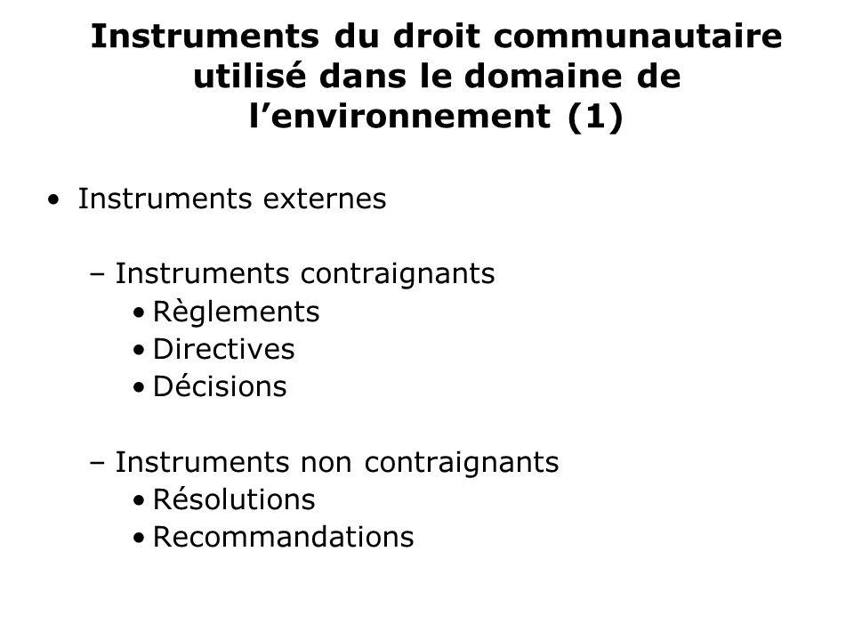 Instruments du droit communautaire utilisé dans le domaine de lenvironnement (1) Instruments externes –Instruments contraignants Règlements Directives Décisions –Instruments non contraignants Résolutions Recommandations