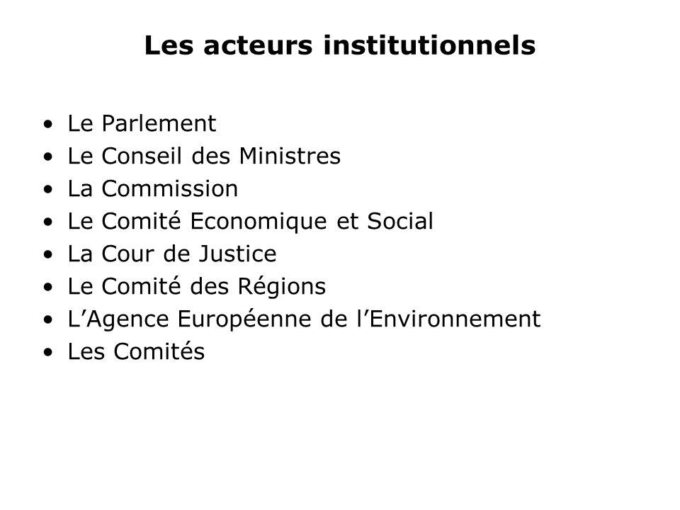 Les acteurs institutionnels Le Parlement Le Conseil des Ministres La Commission Le Comité Economique et Social La Cour de Justice Le Comité des Régions LAgence Européenne de lEnvironnement Les Comités