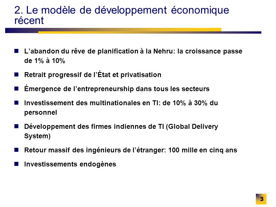 3 2. Le modèle de développement économique récent Labandon du rêve de planification à la Nehru: la croissance passe de 1% à 10% Retrait progressif de