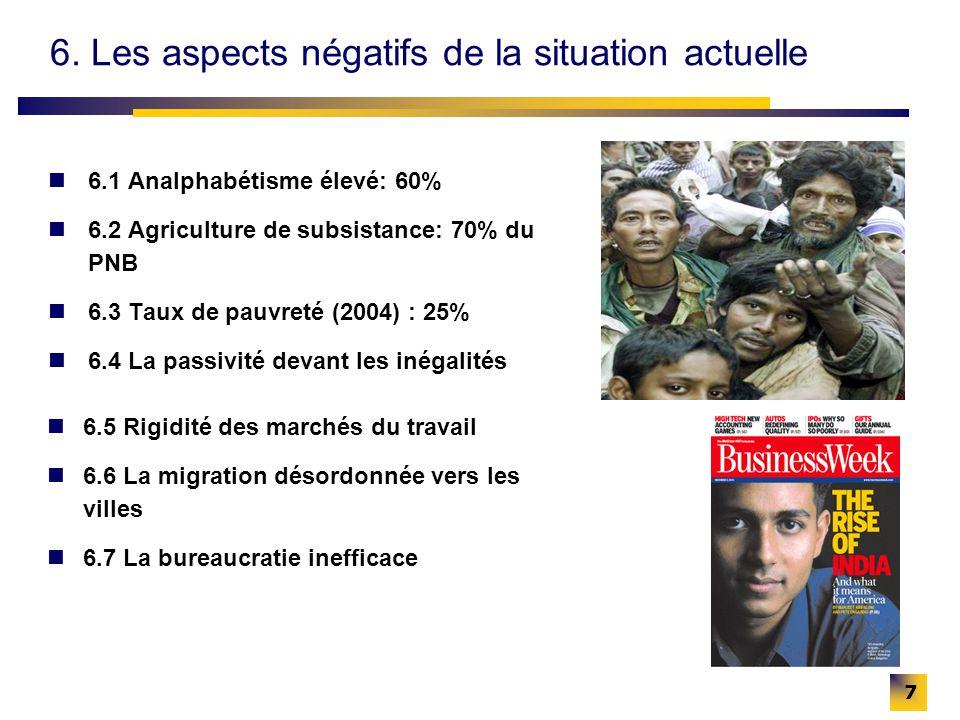 7 6. Les aspects négatifs de la situation actuelle 6.1 Analphabétisme élevé: 60% 6.2 Agriculture de subsistance: 70% du PNB 6.3 Taux de pauvreté (2004