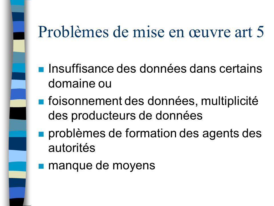 Problèmes de mise en œuvre art 5 n Insuffisance des données dans certains domaine ou n foisonnement des données, multiplicité des producteurs de donné