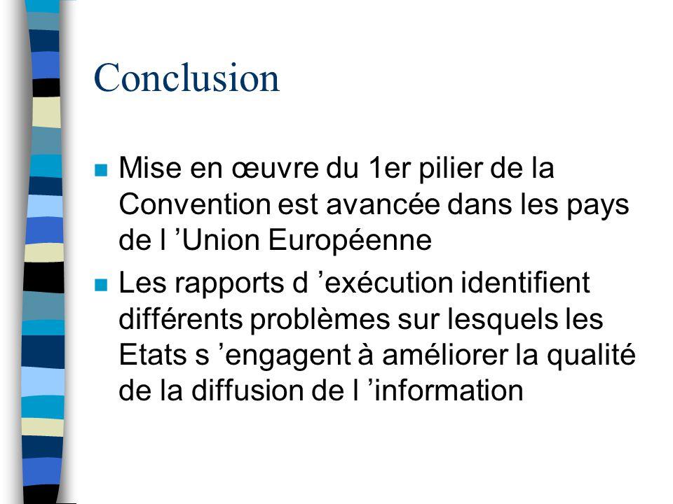 Conclusion n Mise en œuvre du 1er pilier de la Convention est avancée dans les pays de l Union Européenne n Les rapports d exécution identifient diffé
