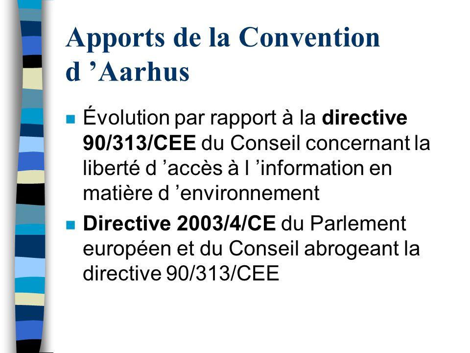 Apports de la Convention d Aarhus n Évolution par rapport à la directive 90/313/CEE du Conseil concernant la liberté d accès à l information en matièr