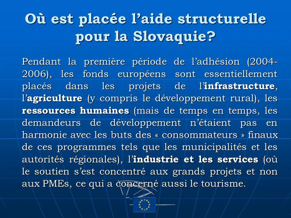 Où est placée laide structurelle pour la Slovaquie? Pendant la première période de ladhésion (2004- 2006), les fonds européens sont essentiellement pl