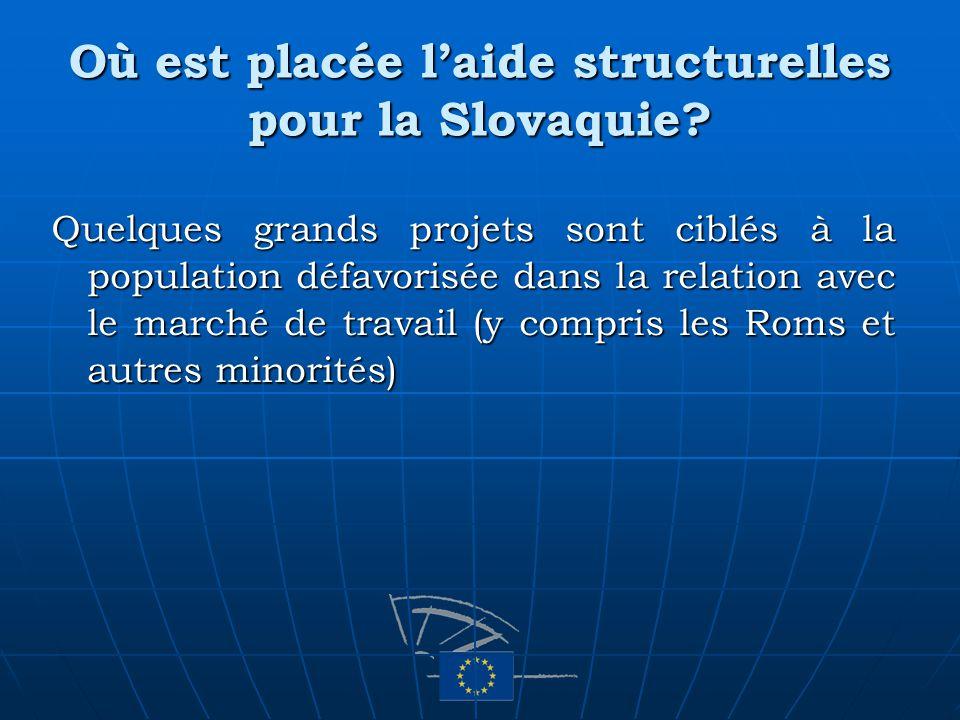 Où est placée laide structurelles pour la Slovaquie? Quelques grands projets sont ciblés à la population défavorisée dans la relation avec le marché d