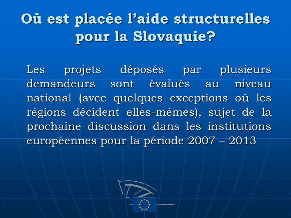 Où est placée laide structurelles pour la Slovaquie? Les projets déposés par plusieurs demandeurs sont évalués au niveau national (avec quelques excep
