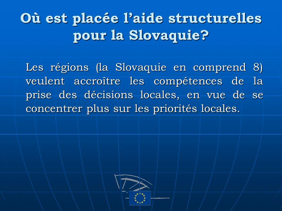 Où est placée laide structurelles pour la Slovaquie? Les régions (la Slovaquie en comprend 8) veulent accroître les compétences de la prise des décisi