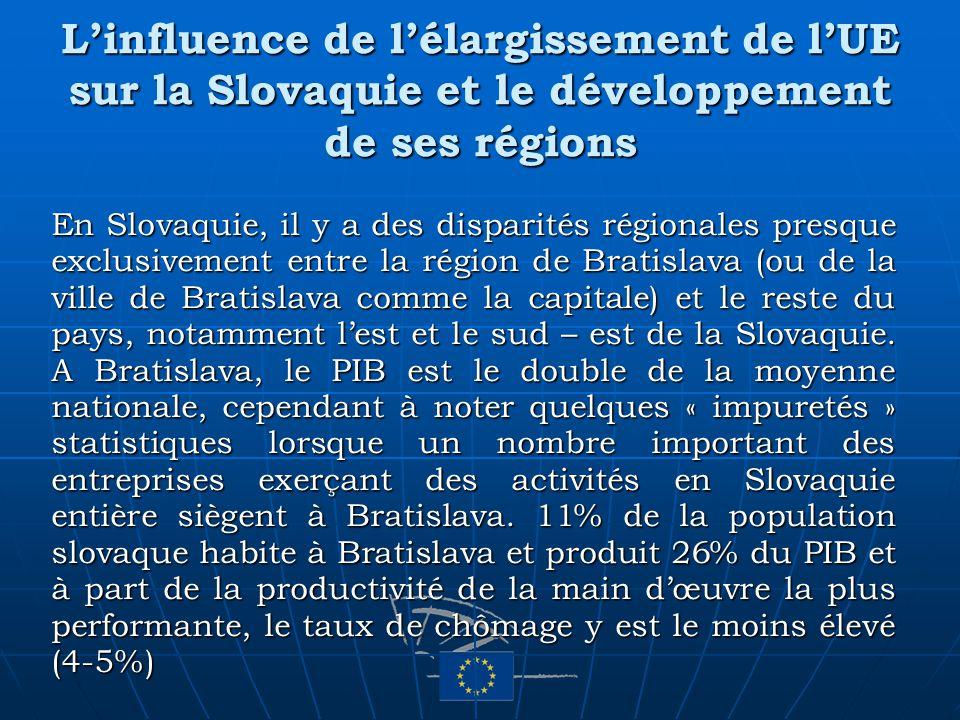 Linfluence de lélargissement de lUE sur la Slovaquie et le développement de ses régions En Slovaquie, il y a des disparités régionales presque exclusi
