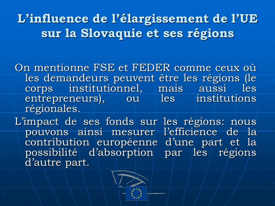 Linfluence de lélargissement de lUE sur la Slovaquie et ses régions On mentionne FSE et FEDER comme ceux où les demandeurs peuvent être les régions (l