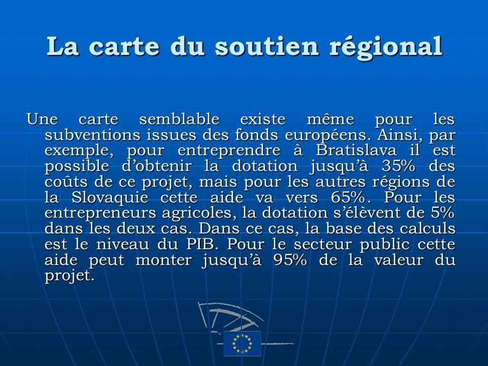 La carte du soutien régional Une carte semblable existe même pour les subventions issues des fonds européens. Ainsi, par exemple, pour entreprendre à