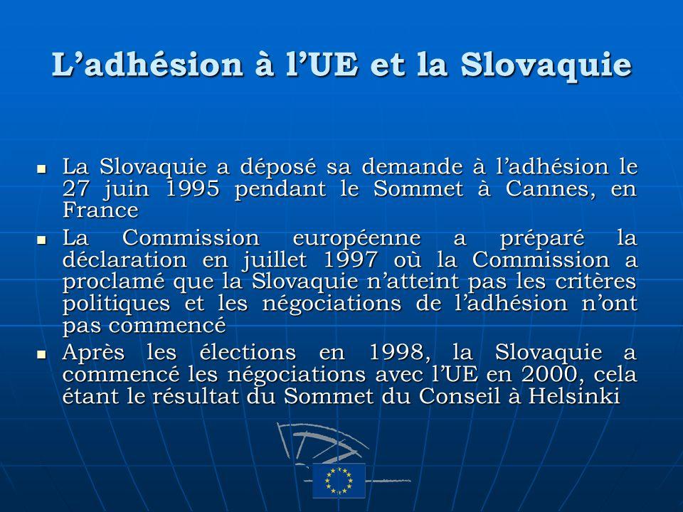 Ladhésion à lUE et la Slovaquie La Slovaquie a déposé sa demande à ladhésion le 27 juin 1995 pendant le Sommet à Cannes, en France La Slovaquie a dépo