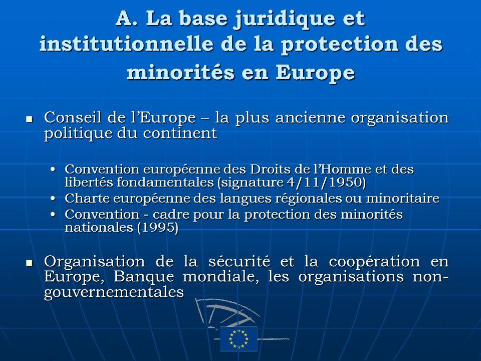 A. La base juridique et institutionnelle de la protection des minorités en Europe Conseil de lEurope – la plus ancienne organisation politique du cont
