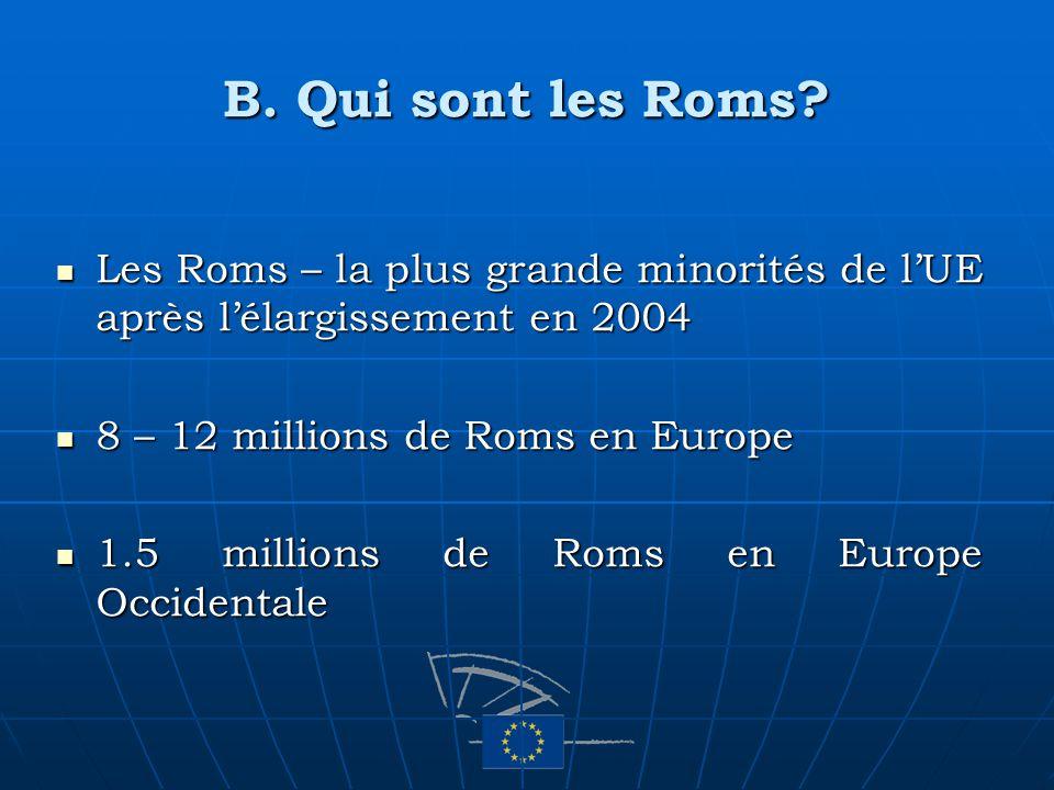B. Qui sont les Roms? Les Roms – la plus grande minorités de lUE après lélargissement en 2004 Les Roms – la plus grande minorités de lUE après lélargi