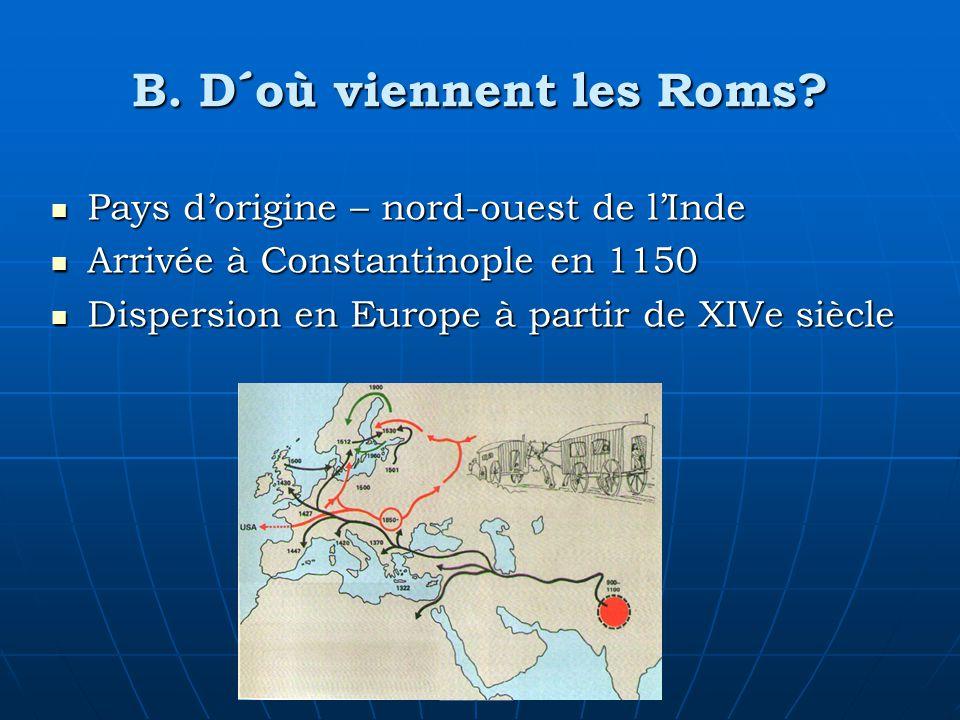 B. D´où viennent les Roms? Pays dorigine – nord-ouest de lInde Pays dorigine – nord-ouest de lInde Arrivée à Constantinople en 1150 Arrivée à Constant