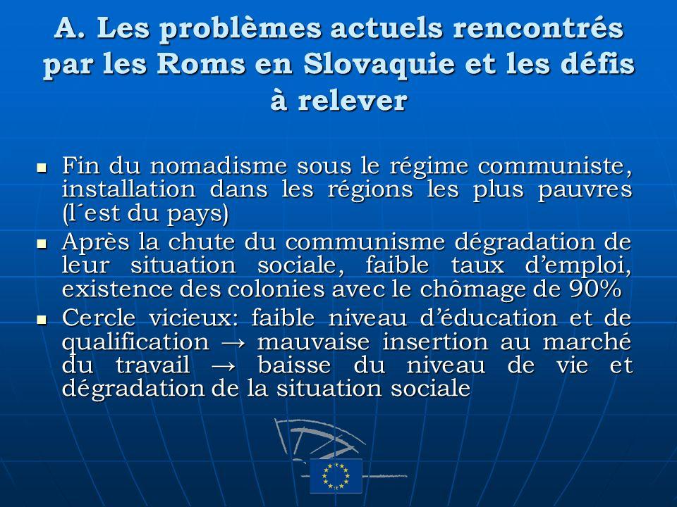 A. Les problèmes actuels rencontrés par les Roms en Slovaquie et les défis à relever Fin du nomadisme sous le régime communiste, installation dans les