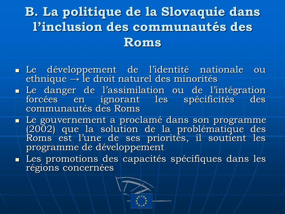 B. La politique de la Slovaquie dans linclusion des communautés des Roms Le développement de lidentité nationale ou ethnique le droit naturel des mino